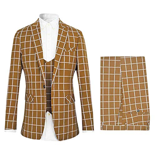 Men's Fashion Plaid 3 Pieces Suits Wedding Suits One Button Groom Tuxedos Brown Acetate Flat Front Pants