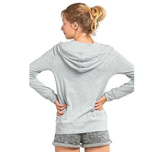 Sofra Women's Thin Cotton Zip up Hoodie Jacket (LRG,h.Grey/White) by Sofra (Image #3)