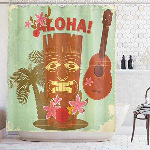 (Lunarable Vintage Hawaii Shower Curtain, Old School Hawaiian Image with Mask Floral Elements Guitar and Palm Trees, Fabric Bathroom Decor Set with Hooks, 75 inches Long, Multicolor)