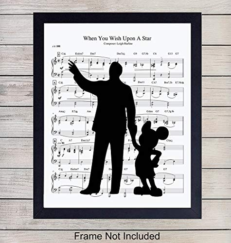 Walt Disney and Mickey Mouse Music Wall Art Print - 8X10 Vintage Unframed Photo - Perfect Gift For Disney Fans, Great For Home Decor ()