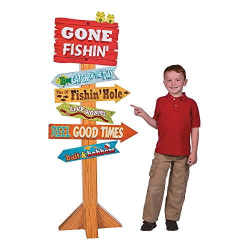 Fun Express - Little Fisherman Directional Sign for Birthday - Party Decor - Large Decor - Floor Stand Ups - Birthday - 1 Piece ()