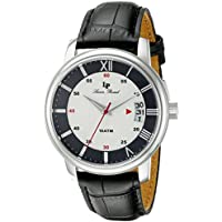 Lucien Piccard Men's LP-40019-02S-BC Amici Stainless Steel Watch with Black Leather Band