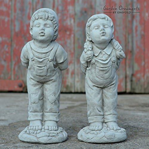 Boy and Girl Garden Ornaments Lawn Statues Hand Cast Figures Decor Antique