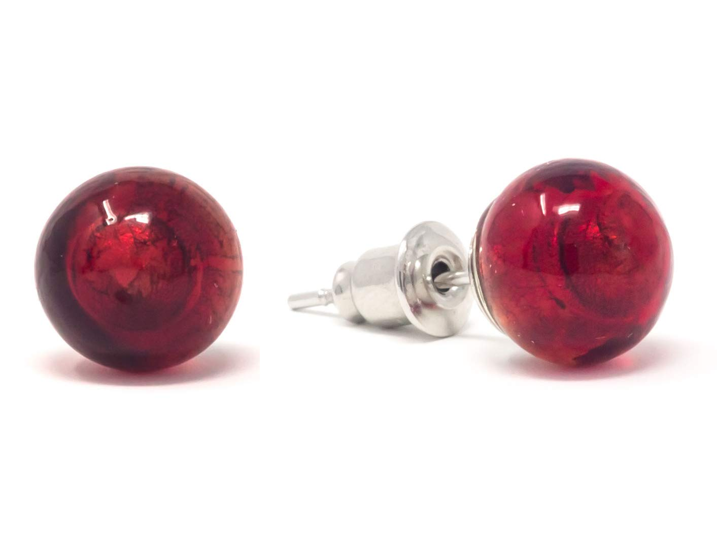 Hand Blown Glass Authentic Murano Glass Stud Earrings Murano Glass Hand Made In Italy beaded earrings