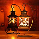 Small Decorative Hurricane Lantern Glass Candle Holder, Cast Iron, Smoke Hurricane Set of 2