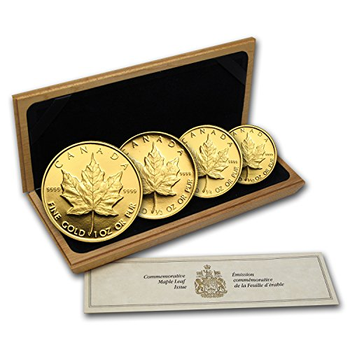 CA 1989 Canada 4-Coin Gold Maple Leaf PF Set (10th Anniv, Box & COA) About Uncirculated