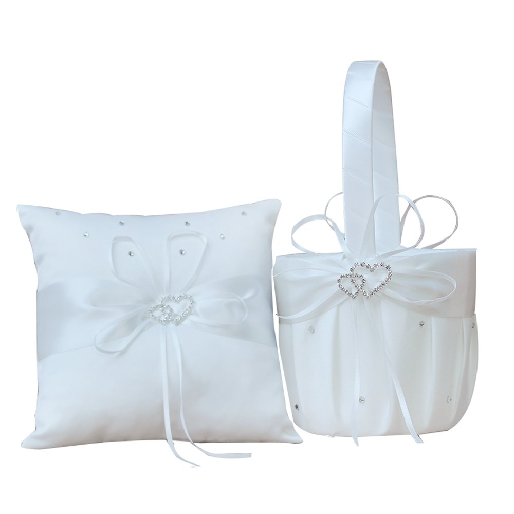 AmaJOY 2pcs Ivory Wedding Set Flower Girl Basket and Ring Pillow Set with Double Heart Rhinestone Decor by Amajoy