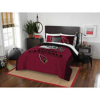 Image of 3 Piece NFL Arizona Cardinals Comforter Full Queen Set, Sports Patterned Bedding, Featuring Team Logo, Fan Merchandise, Team Spirit, Football Themed, National Football League, Red, Black, Unisex