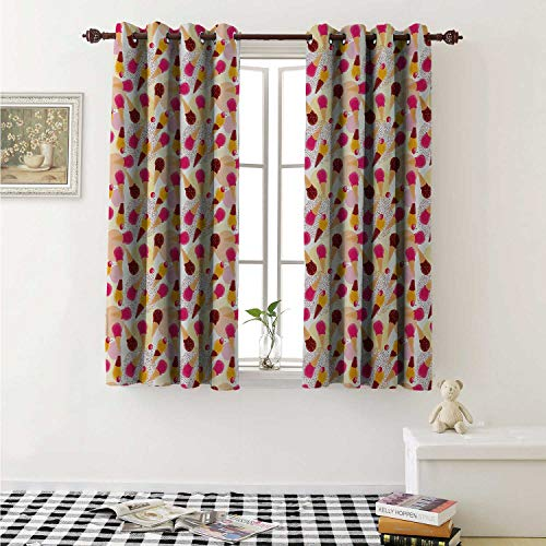 shenglv Ice Cream Blackout Draperies for Bedroom Sweet Taste of Summer Theme Chocolate and Fruity Flavor Cherries Circle Sprinkles Curtains Kitchen Valance W72 x L63 Inch Multicolor