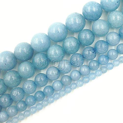 "FidgetFidget 4/6/8/10/12mm Natural Brazilian Aquamarine Gemstone Round Loose Beads 15"" Strand 4mm"