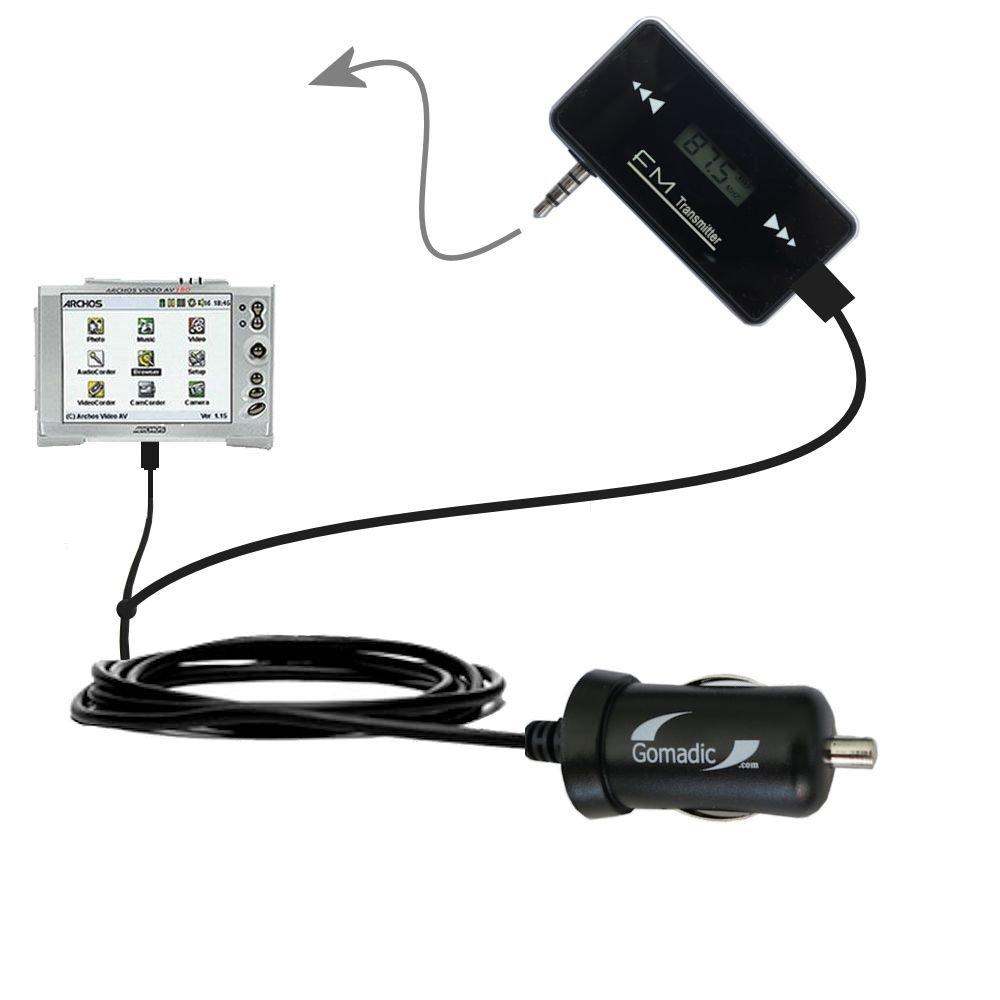 3rd Gen FM Transmitter with Micro Rapid Car Charger compatible with the Archos AV300 AV320 AV340 AV380