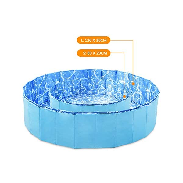 GoPetee Foldable Dog Swimming Pool Puppy Cats Paddling Pool Bathing Tub for Pet Children Kid (Ocean Wave, 80 * 20CM,) 6