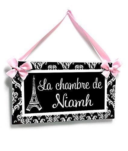 Customized Eiffel Tower Paris Teenagers Bedroom Name Doors, Slegant Black Damask Light Pink Ribbon and Bows (For Bedroom Themed Paris Teenagers)