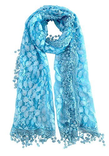 MissShorthair Floral Print Lace Scarfs for Women with Fringes (blue rose)