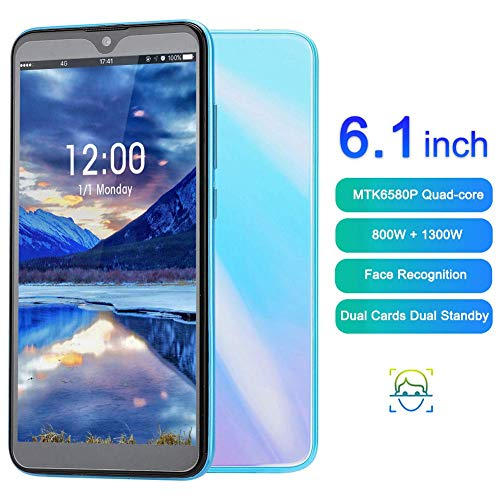 6.1in Unlocked Smartphone, Dual Card Dual Standby Dual Camera for Android 9.1 3G Smart Phone, Support Face Unlocked Cell Phone, with Bluetooth4.0, WiFi, Built-in GPS, 1+8G, MTK6580P Quad-core