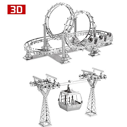 2pcs MoTu 3D Metal Nano Puzzle Roller Coaster + Cable Car Model Kits F31104-05 DIY 3D Laser Cut Jigsaw Toys For (3 Coasters)