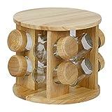 Evelyne Rubberwood Revolving Rotation Spice Rack with Glass Spice Jars (8)