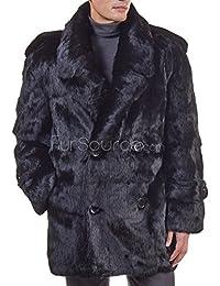 Black Rabbit Fur Pea Coat For Men