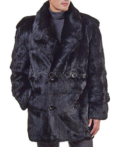 Fur Peacoat (Black Rabbit Fur Pea Coat For Men - 4X-Large)