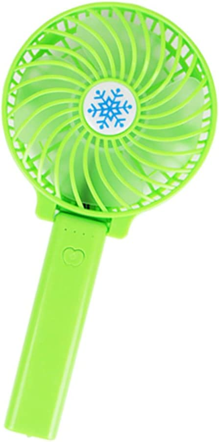Portable USB Rechargeable Lighting Mini Hand Held Travel Switch Fan Air Cooler Green