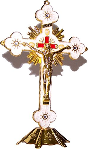 Holy Land Market Altar Table Crucifix – Church or Home Decor – White Enamel Ornamented 12 Inches – Gold Tone