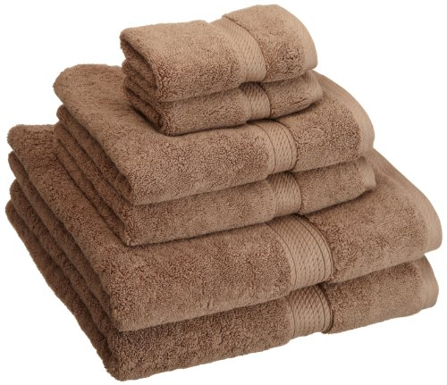 Superior 900 GSM Luxury Bathroom 6-Piece Towel Set, Made Long-Staple Combed Cotton, 2 Hotel & Spa Quality Washcloths, 2 Hand Towels, and 2 Bath Towels - Latte