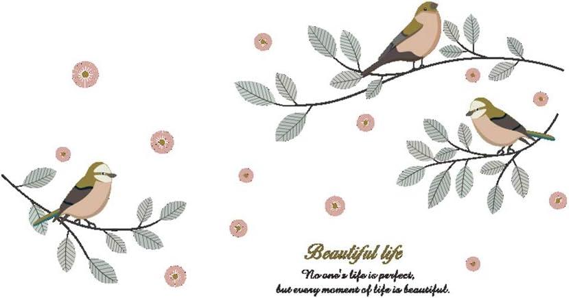 Pájaro Rama Pegatinas de Pared para la Sala de Estar Dormitorio Armario extraíble Vinilo Tatuajes de Pared Arte Home Murals DIY Cartel de la Pared 31x19cm