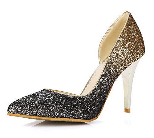 mujeres las Spikes cerrada Shoes Puntiagudo Pumps Gold Stilettos de punta On Lentejuelas VogueZone009 Solid Pull tETwSpq