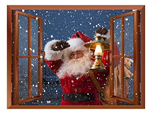 Claus Santa Wall (wall26 Removable Wall Sticker/Wall Mural - Santa Claus Carrying Gifts Outside of Window on Christmas Eve - Creative Window View Home Decor - 36