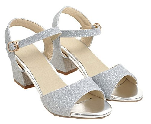 Sandals Solid Kitten Open Silver Toe Heels Blend Women Buckle VogueZone009 Materials w8gzqn