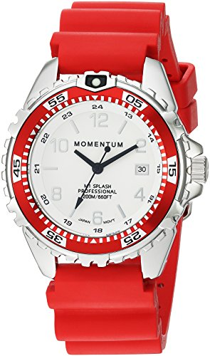 Women's Quartz Watch | M1 Splash by Momentum| Stainless Steel Watches for Women | Dive Watch with Japanese Movement & Analog Display | Water Resistant ladies watch with Date –Lume  / Red Rubber
