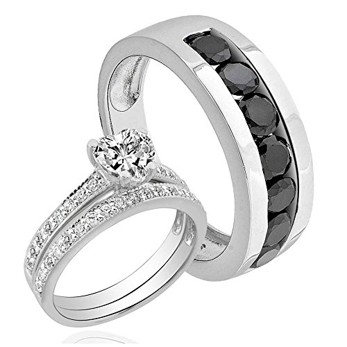 Bride and Groom Heart 4.2CT Black CZ Sterling Silver 925 Wedding Channel Set Ring sz 10, - Ct Heart 4.2