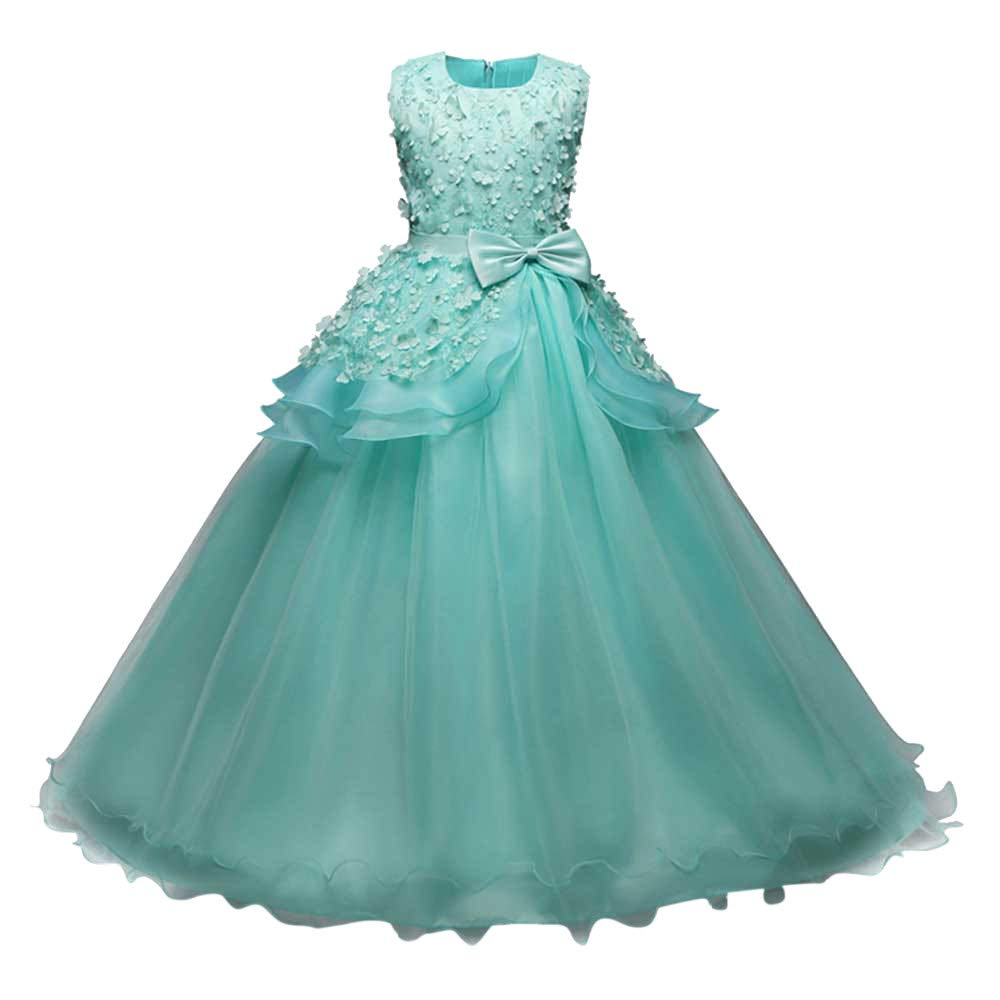 Girl Embroidery Princess Pageant Dresses Kids Prom Ball Gown Bridesmaid Pageant Gown Birthday Party Wedding Dress Green by Wenini