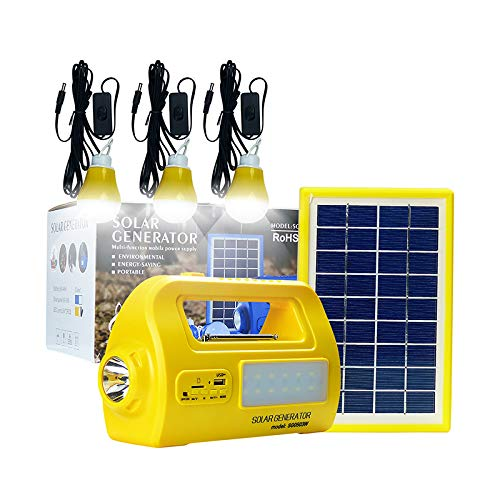 Solar Lights Outdoor Kit, Portable Solar Generator with Solar Panel, Multifunctional Solar Generator with 3 Sets LED Lights and 2 USB Charger Port for Mobile Phone Power Bank, Camping (Yellow)