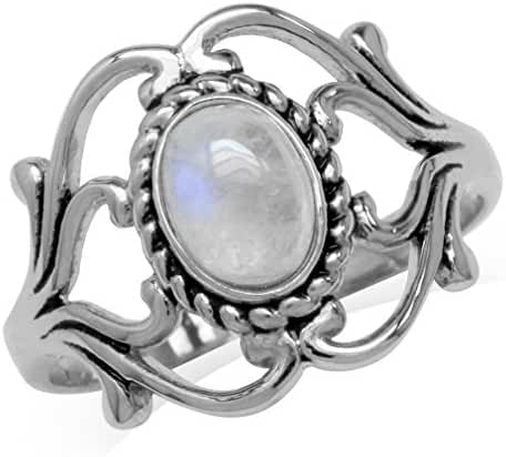 Natural Moonstone White Gold Plated 925 Sterling Silver Victorian Style Rope Ring