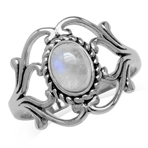 - Silvershake Natural Moonstone 925 Sterling Silver Victorian Style Rope Ring Size 6.5