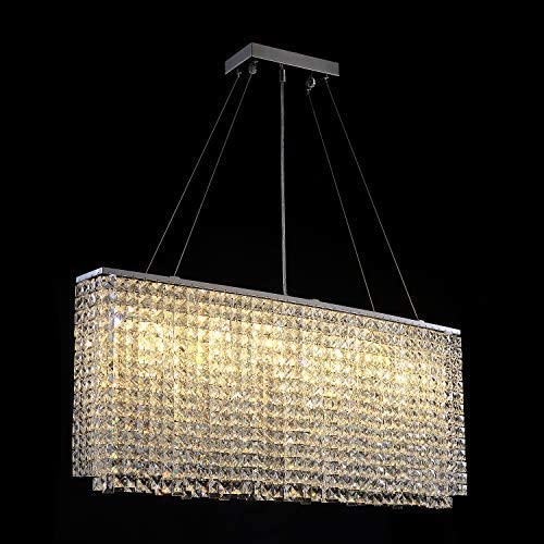 Modern Crystal Chandelier Lighting Rectangular Oval Pendant Lights for Dining Room Kitchen Island L 37.4 x W 7.9 x H 16