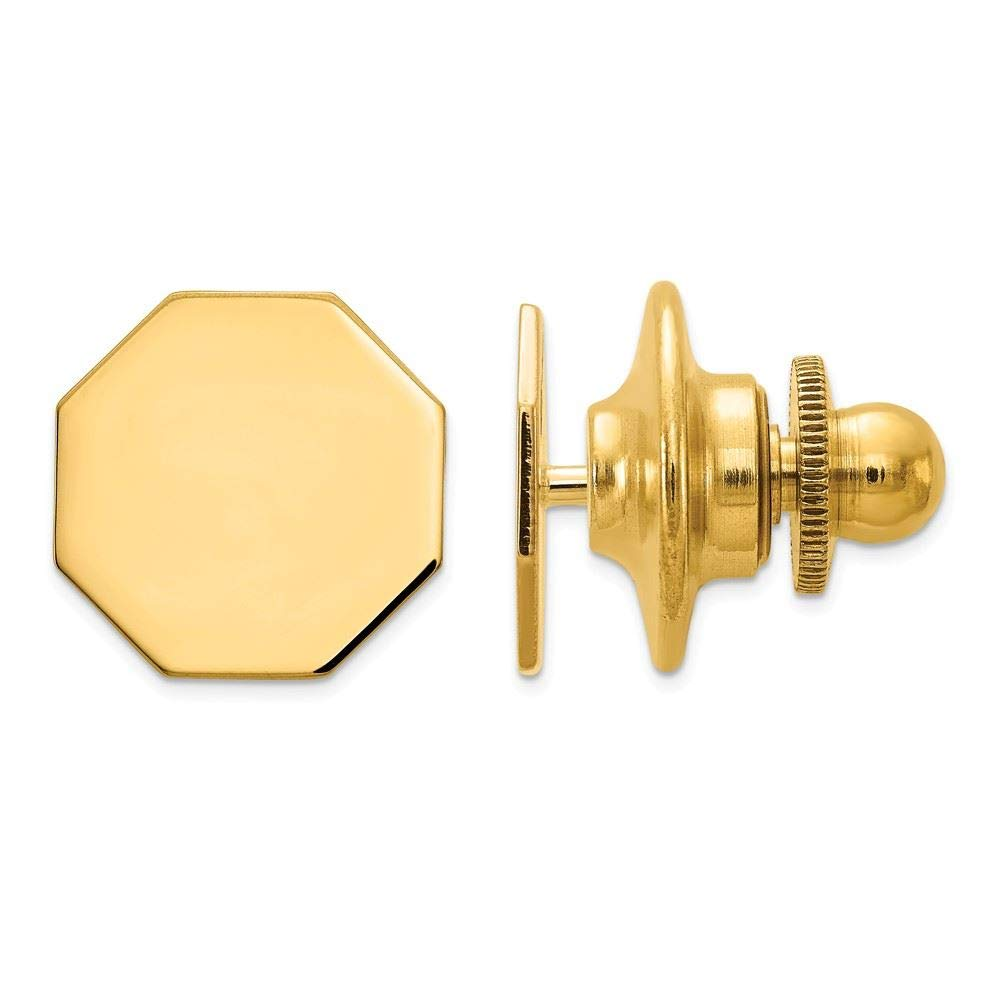 14K Yellow Gold Polished Octagon Engravable Tie Tac by Accessory Tie Bar (Image #1)
