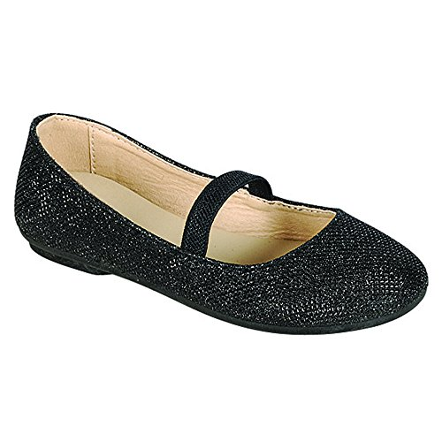 Girls Flat Classic (Shobeautiful Kids Girls Ballet Flats Ballerina Classic Dance Shoes Adorables Gymnastics Slippers Mary Jane Slip-ONS DM07K Black 1)