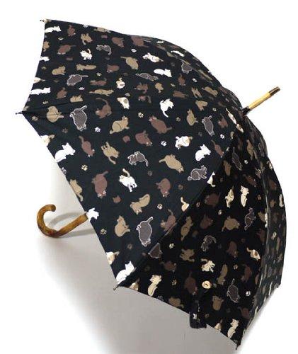 日本製 UV care「ねこ」の雨晴兼用日傘、黒 B006XW0H3O
