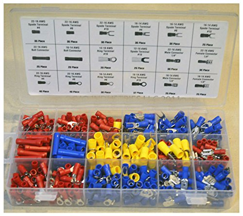 520 pc ASSORTED WIRE CONNECTORS TERMINALS KIT - ELECTRICAL WIRING SPLICE 22-10 from Unbranded*