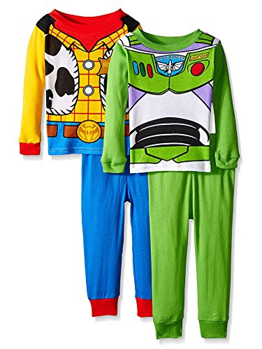 Toy Story Woody Buzz Boys 4 Piece Costume Pajamas Set (3T, Blue/Green/Multi)