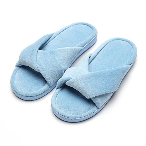 - Women's Memory Foam Plush Anti-Skid Indoor Slippers, Special Design of Chinese Knot Shape,US Size Women's 9-10,Blue Slippers