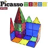 PicassoTiles 60 Piece Set 60pcs Magnet Building Tiles Clear Magnetic 3D Building Blocks Construction Playboards - Creativity beyond Imagination, Inspirational, Recreational, Educational, Conventional