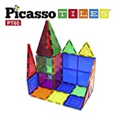 Image of PicassoTiles 60 Piece Set 60pcs Magnet Building Tiles Clear Magnetic 3D Building Blocks Construction Playboards - Creativity beyond Imagination, Inspirational, Recreational, Educational, Conventional