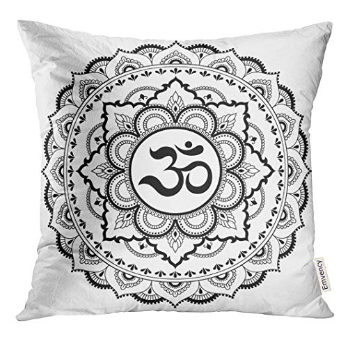 over Circular in The Form of Mandala Om Symbol Mehndi Style Oriental with Ancient Hindu Mantra Henna Tattoo Decorative Pillow Case Home Decor Square 20x20 Inches Pillowcase ()