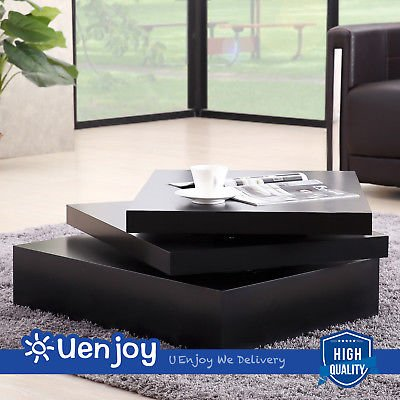 Delicieux SUNCOO Black Square Coffee Table Rotating Contemporary Modern Living Room  Furniture