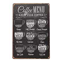 "YESURPRISE Retro Vintage Metal Sign Wall Art Tin Cafe Garage Home Shop Tavern Plaque Decor 12""x 8"" Coffee Menu"