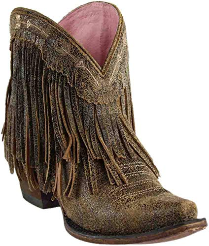 - Junk Gypsy Women's by Lane Spitfire Mustard Fringe Booties Snip Toe Tan 9 M