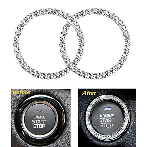 Earthland 2Pcs Crystal Rhinestone Ring for Car Decor, Auto Engine Start Stop Decoration Crystal Interior Ring Decal for…